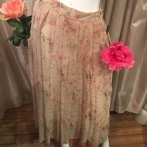 Ralph Lauren pleated floral pattern maxi skirt
